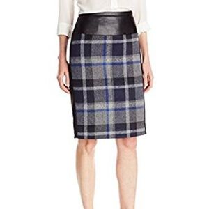 Calvin Klein Plaid Faux leather trimmed Skirt